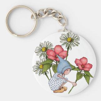 Gnome Girl Picking Flowers, Fanstasy Art Basic Round Button Keychain