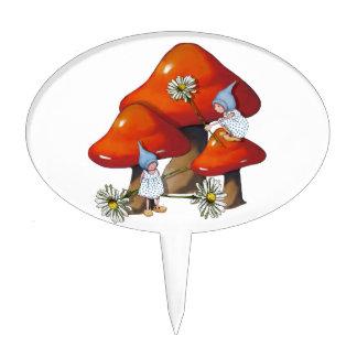 Gnome Girls, Daisies, Toadstool, Fantasy Art Cake Topper