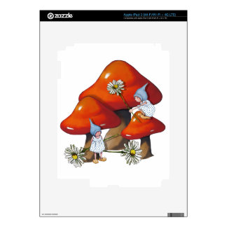 Gnome Girls, Daisies, Toadstool, Fantasy Art Decal For iPad 3