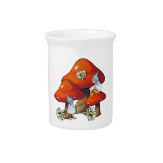 Gnome Girls, Daisies, Toadstool, Fantasy Art Pitcher