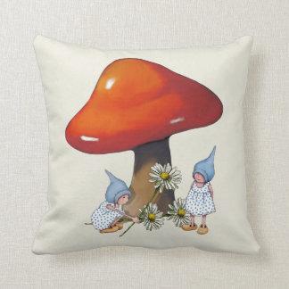 Gnome Girls, Daisies, Toadstool, Fantasy Art Throw Pillow