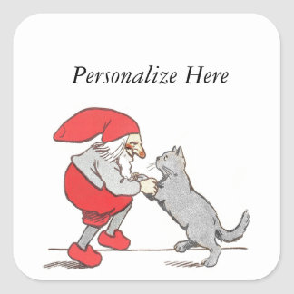 Gnome Holding Cat Paws Square Sticker
