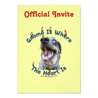 Gnome Home Heart Dog 5x7 Paper Invitation Card