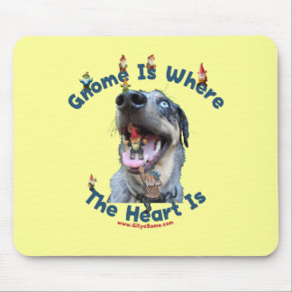 Gnome Home Heart Dog Mouse Pad