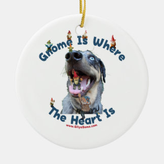 Gnome Home Heart Dog Double-Sided Ceramic Round Christmas Ornament
