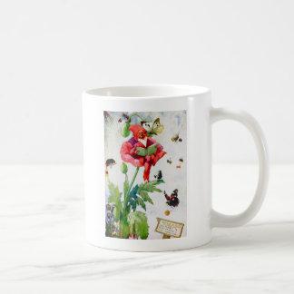 Gnome in a poppy flower coffee mug