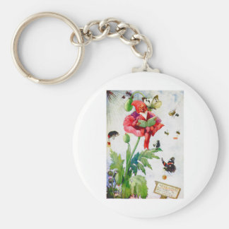 Gnome in a poppy flower keychain