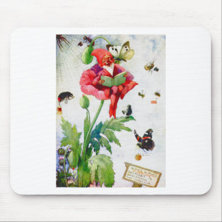 Gnome in a poppy flower mouse pad
