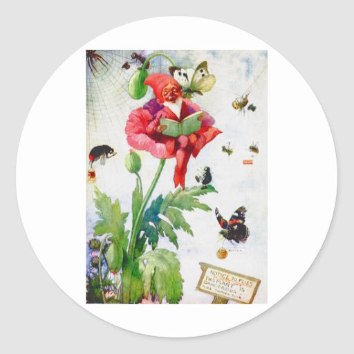 Gnome in a poppy flower stickers