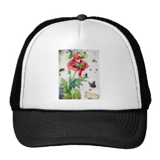 Gnome in a poppy flower trucker hat