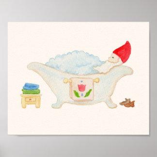 Gnome in Bubble Bath bathroom art print