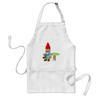 gnome leaning on mushroom adult apron