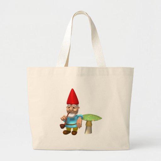gnome leaning on mushroom canvas bag