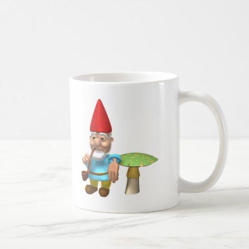 gnome leaning on mushroom mugs