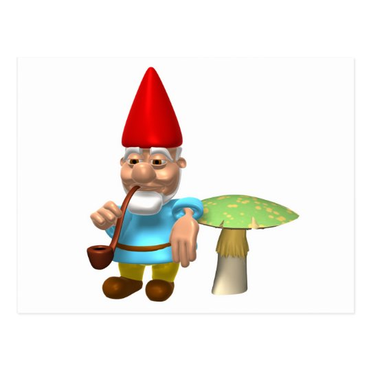gnome leaning on mushroom postcard
