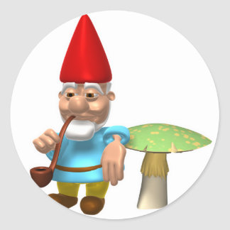 gnome leaning on mushroom stickers