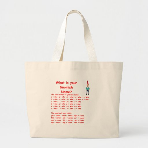 gnome name canvas bags
