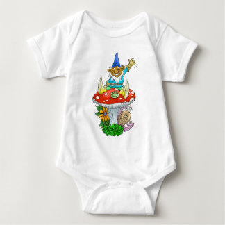 Gnome on a toadstool. baby bodysuit