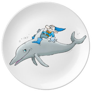 Gnome riding a dolphin. porcelain plate