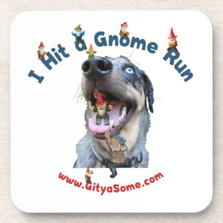 Gnome Run Home Run Dog Beverage Coaster