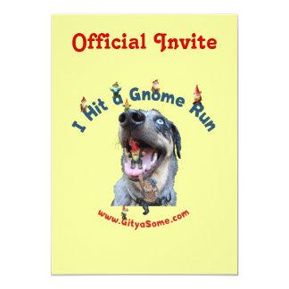 Gnome Run Home Run Dog 5x7 Paper Invitation Card