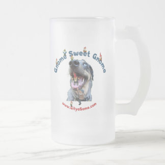 Gnome Sweet Gnome Dog 16 Oz Frosted Glass Beer Mug