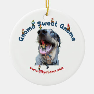 Gnome Sweet Gnome Dog Double-Sided Ceramic Round Christmas Ornament