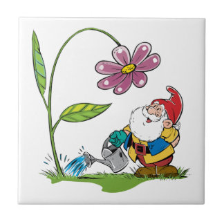 Gnome Watering a Plant Ceramic Tiles