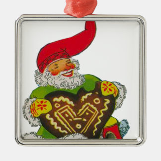 Gnome with a heart square metal christmas ornament