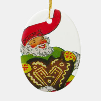 Gnome with a heart Double-Sided oval ceramic christmas ornament