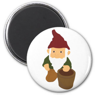 Gnome with Bucket 2 Inch Round Magnet