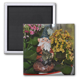 Gnome with Frog-full size 2 Inch Square Magnet