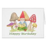 Gnome with Mushroom Book birthday card