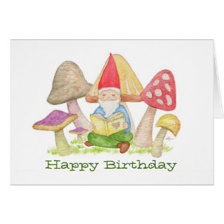 Gnome with Mushroom Book birthday card
