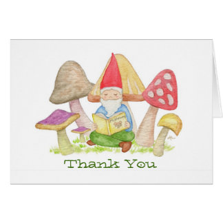 Gnome with Mushroom Book thank you card