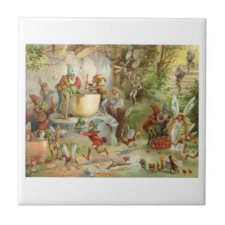 GNOMES AND FAIRIES CERAMIC TILE