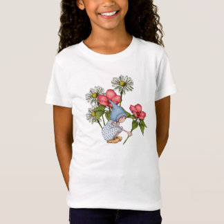 Gnomes Girl in Garden, Daisies, Pink Flowers, Art T-Shirt