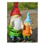 Gnomes in the garden  statue post card