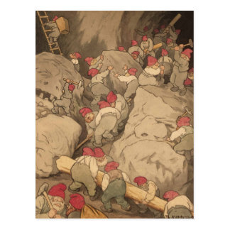 Gnomes Mining in a Cave Postcard