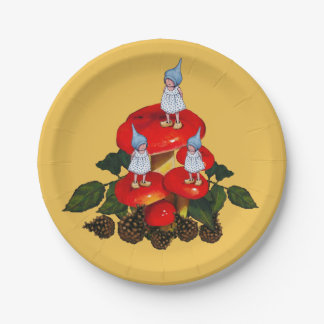 Gnomes Mushrooms, Pine Cones, Original Fantasy Art Paper Plate