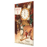 Gnomes Partying Around a Clock Canvas Print