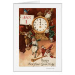 Gnomes Partying Around a Clock Greeting Cards