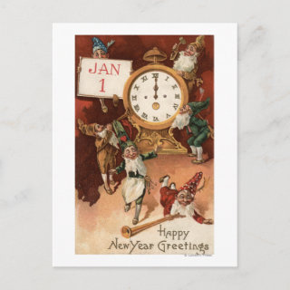 Gnomes Partying Around a Clock Post Card