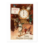 Gnomes Partying Around a Clock Postcard