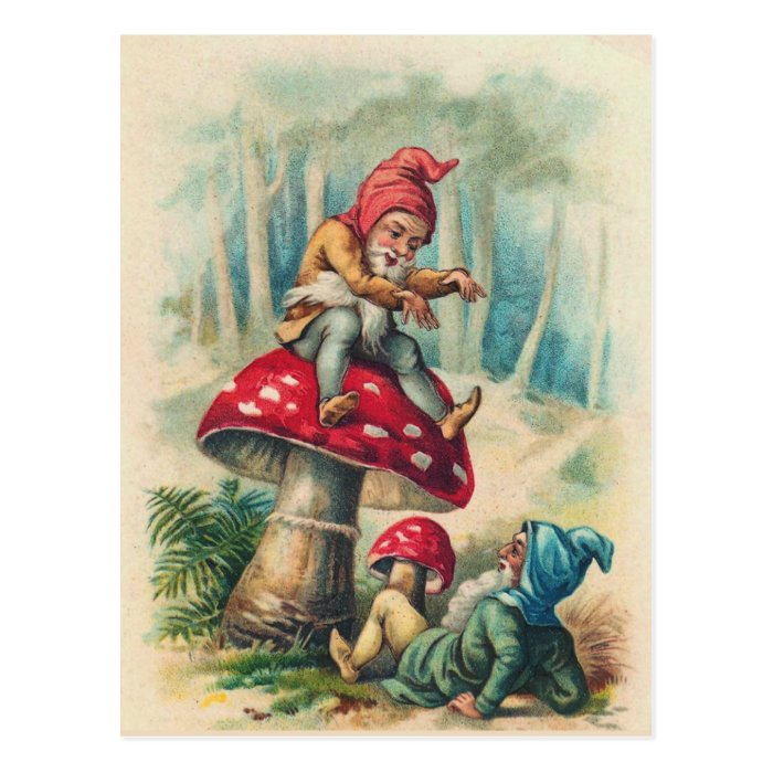 """""""Gnomes Playing on a Toadstool"""" Postcard"""