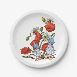 Gnomes: Poppies, Daisies, Ladybugs, Fantasy Art Paper Plate