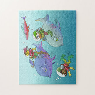 Gnomes riding on fish, on a puzzle. jigsaw puzzle