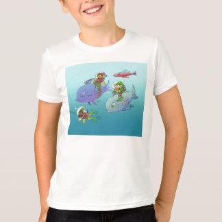 Gnomes riding on fish, on a t-shirt. T-Shirt
