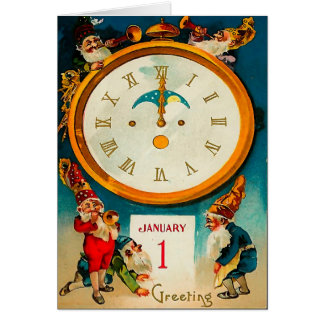 Gnomes - Ringing in the New Year Greeting Card