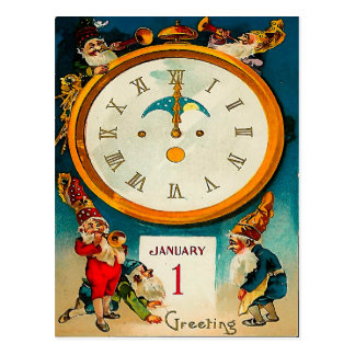 Gnomes - Ringing in the New Year Postcard